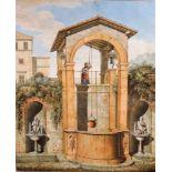 """Georges Wagner, 1744 - 1832 FrankreichGouache/Papier. """"Femme tirant de l'eau à un puit"""" - Frau am"""