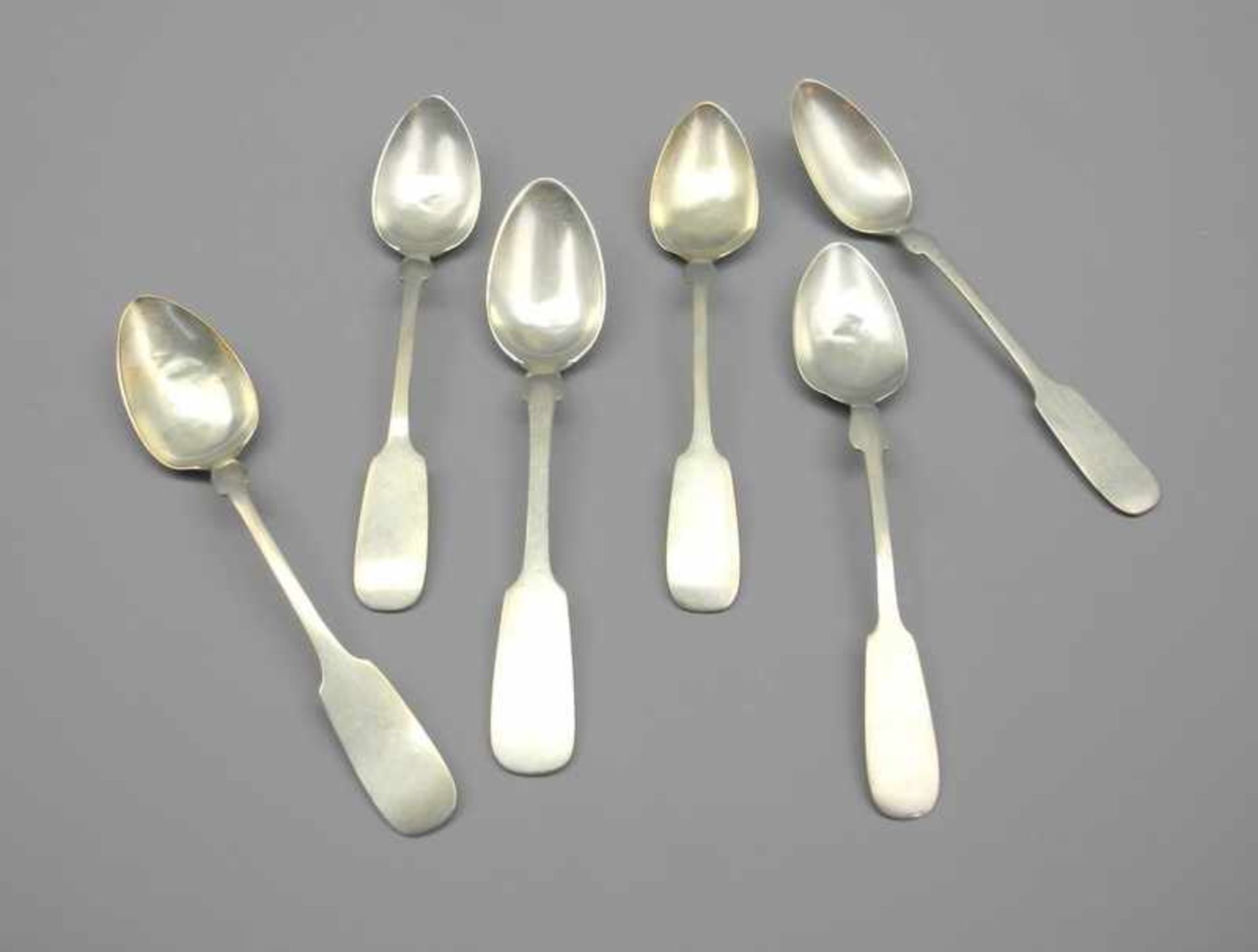 Los 15 - 6 Silber-KaffeelöffelSilber 800, rückseitig am Stiel mit Halbmond und Krone, Feingehalt sowie