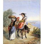 """Ercole Trachel, 1820 Nizza - 1872 ebendaBleistift, Gouache/Papier. """"Paysans de Nice"""" - Reisende"""