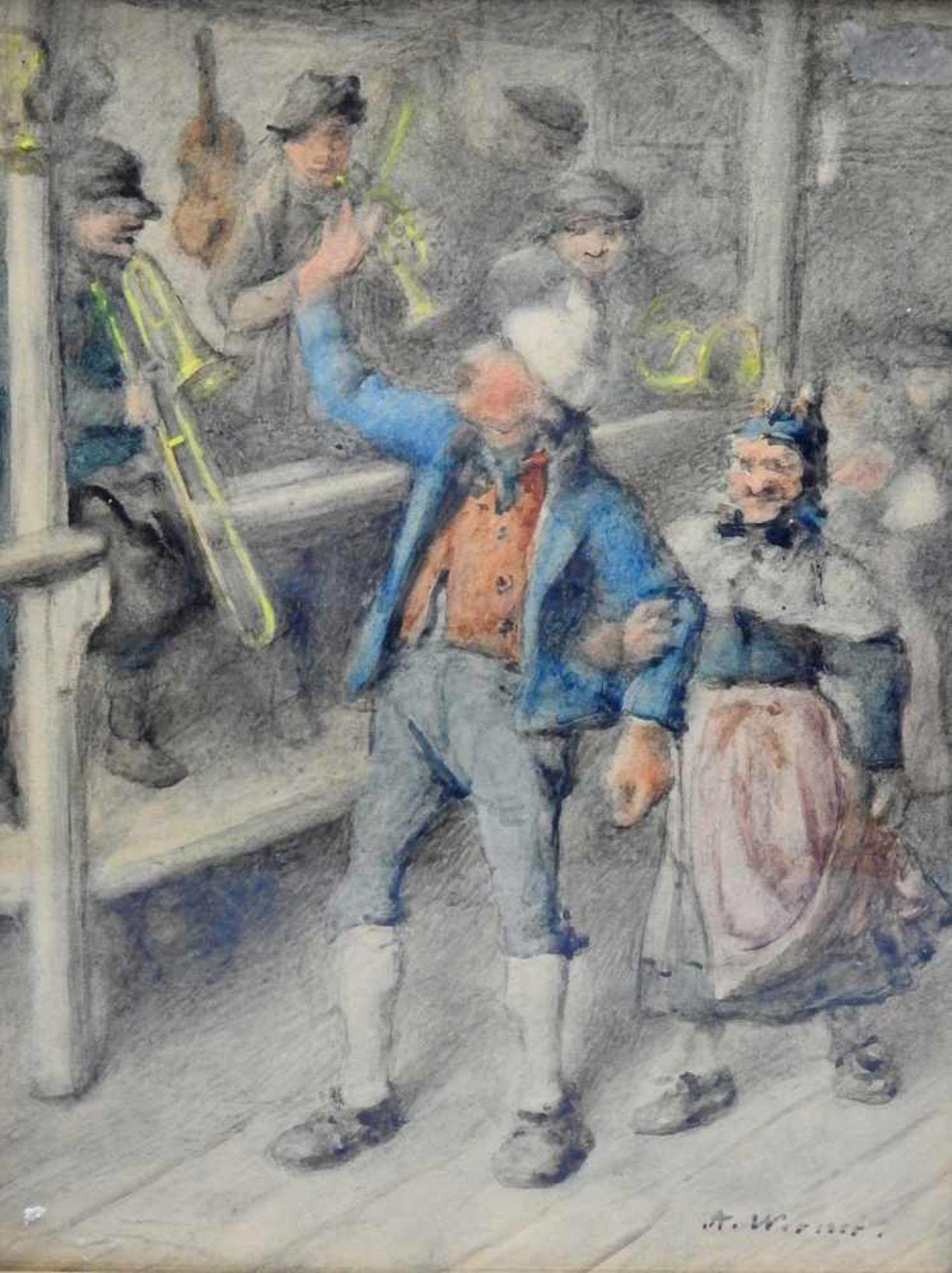 Tanzendes Bauernpaar vor MusikkapelleAquarell/Papier. Altes tanzendes Bauernpaar vor einer
