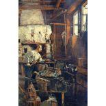 Hugo Charlemont, 1850 Jamnitz - 1939 WienÖl/Holz. Der Sensenschmied. Nicht nur mit Interieurszenen