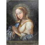 Mater SalvatorisÖl/Leinwand. Betende Madonna, bezeichnet als Mater Salvatoris. Altrestauriert.