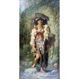 Antoine-Joseph Bourlard, 1826 Mons - 1899 ebendaÖl/Holz. Junges Mädchen mit Lamm in italienischer