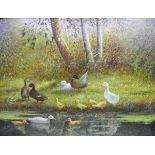 Constant Artz, 1870 Paris - 1951 SoestÖl/Holz. Entenfamilie mit schützender See- und Waldkulisse.