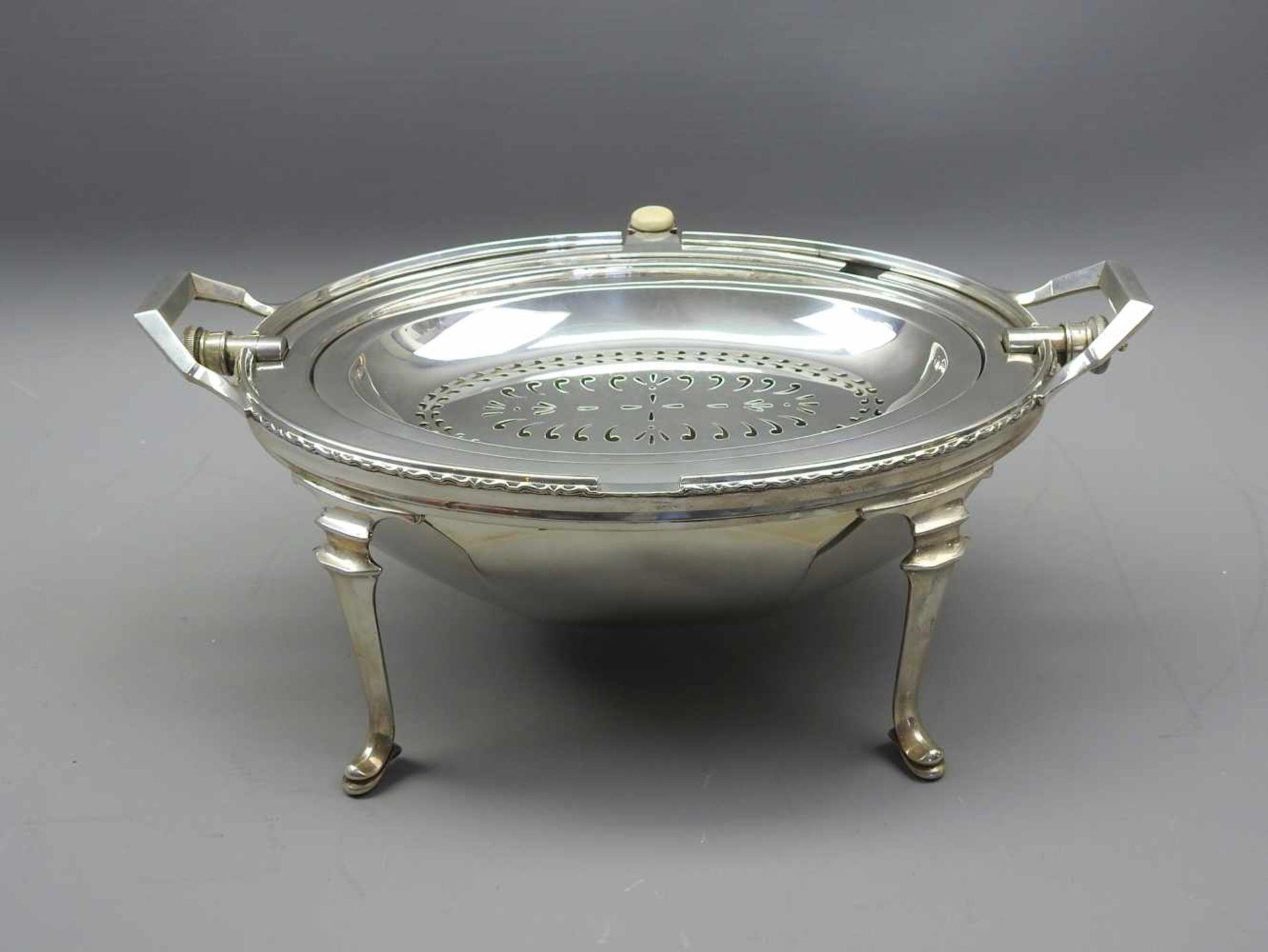 Los 26 - Englischer Frühstücks-RechaudSterling Silber 925, alle Teile mit schreitendem Löwen, Löwenkopf für
