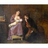 C. Bocheim, Lebensdaten unbekanntÖl/Leinwand. Stubenszene mit stillender Mutter. Unsigniert, in