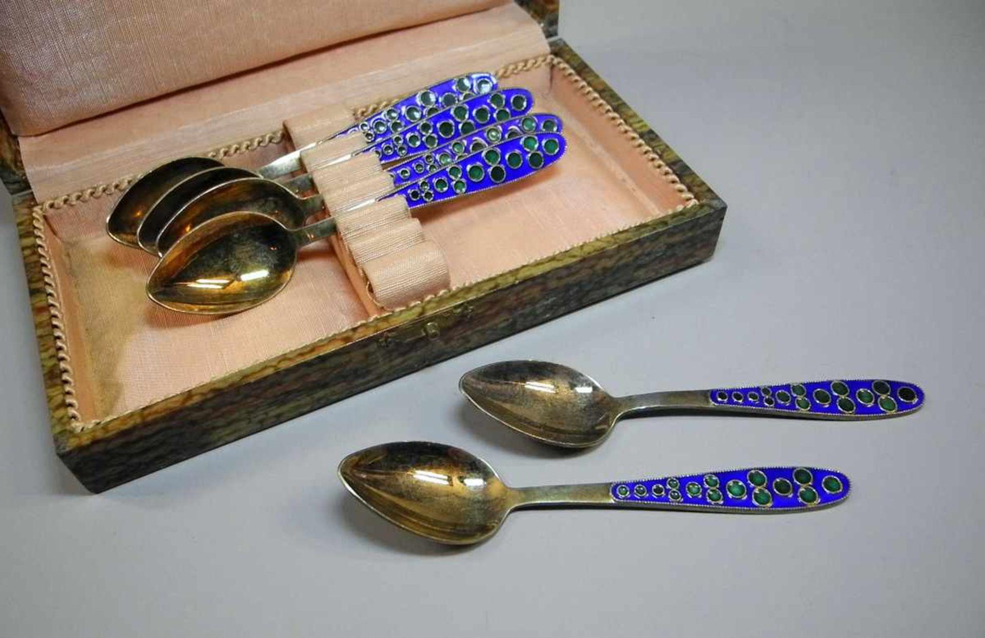 Los 14 - 6 hochwertige Silber-Emaille-LöffelSilber 916 vergoldet, jeweils rückseitig mit russischer