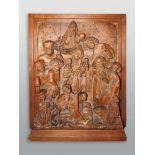 Das Märtyrium des Heiligen LaurentiusIn Eichenholz geschnitztes Relief. Darstellung des auf einem