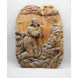 Gotisches ReliefHolz geschnitzt. Darstellung Christi im Gethsemani Garten. Tafel mittig gerissen und