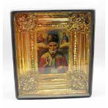 Ikone des Heiligen NikolausTempera/Holz, im prunkvollen Rahmen. In Zentrum der Darstellung steht der