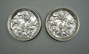 Paar schwedische UntersetzerWohl Silber 800/Bakelit, auf Spiegel mit Drei-Kronen-Marke für Schweden,