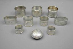 Konvolut von ServiettenringenVorwiegend Silber 800, jeweils mit Feingehaltsstempel, Halbmond und