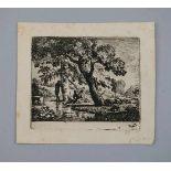 Jean-Louis Demarne zugeschrieben, 1744 - 1829 FrankreichRadierung/Papier. Uferszene mit weidenden