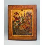 Ikone des Heiligen GeorgiusTempera/Holz, teils vergoldet. Sehr fein und detailliert gearbeitet,