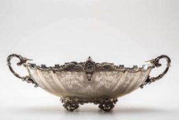 Jardiniere, um 1900800er Silber. Ovaler von Rocaillen und Muschelmotiven durchbrochener Standring,