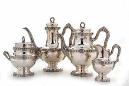 4-teilig.Kaffee-Teervice, Delheid, Brüssel um 1900800er Silber, teilw. innen vergoldet. Runder