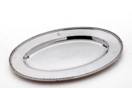 Ovales Serviertablett, J. Tostrup 1952830er Silber. Schlichter ovaler Spiegel, flache Fahne mit