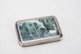 Visitenkarten-Etui, Frankreich 20.Jh.925er Silber, innen vergoldet. Scharnierdeckel mit einer