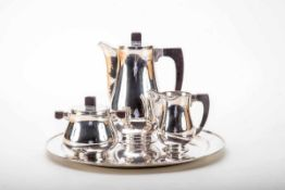 5-teilig. Kaffee-Service, Art Déco um 1920800er Silber. Griffe Ebenholz. Bestehend aus rundem