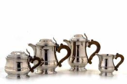Kaffee-Teeservice, Frankreich950er Silber. Bestehend aus Kaffeekanne, Teekanne, Zuckerdose und