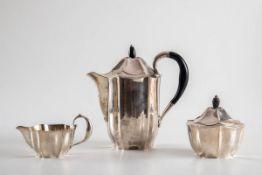 Art Déco Kaffeeset, Wilkens & Söhne, HemelingenFür Juwelier Scheel, Kassel. 800er Silber.