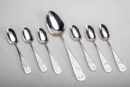 6 Kaffeelöffel-1 Esslöffel um 1900800er Silber. Spitzovale Laffen, Griffe zum Ende sich verbreiternd