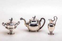 3teilig. Teeservice, Uppsala Schweden 1839Sterling-Silber. Ovaler Stand mit umlaufendem