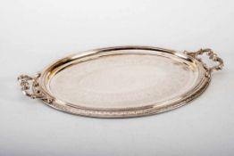Großes Tablett , Deutsch um 1900800er Silber, ovale Form Rand und Spiegel mit Bordüren,