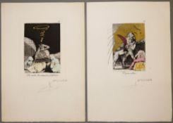 """Salvador Dalí, """"El gran albino"""" & """"Les rinden las máquinas fosfénicas"""", 2 sign. Radierungen nach"""