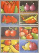 Eva Boström, Früchte, Gemüse & Blumen, 8 sign. Farblithographien, o. Rahmen Eva Boström, *1935,