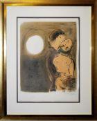 "Marc Chagall, ""Couple en ochre"", sign. Farblithographie, 1952, aufwändige Rahmung mit Museumsglas"