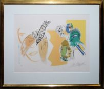 "Marc Chagall, Blatt für ""Vingtième siècle"", sign. Farblithographie von 1966, Unikatrahmen mit"
