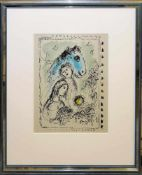 """Marc Chagall, """"Das blaue Pferd"""", Farblithographie, 1982, gerahmt Marc Chagall, 1887 – 1985, Ein"""