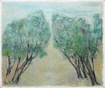 """Christel Abresch, """"Zwei Bäume"""", Ölgemälde von 1966 Christel Abresch, 1931 Sulzbach – 2011 Neustadt/"""