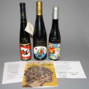 Otmar Alt, WP Eberhard Eggers & Robert Sanyas, 3 Weinflaschen mit emaillierten Künstleretiketten