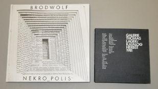 Jürgen Brodwolf, 2 Kataloge mit je einer Originalzeichnung Jürgen Brodwolf, *1932, Katalog Jürgen