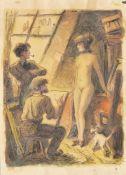 Richard Duschek, Maler und Modell, Atelierszene unterm Dach, farbige Zeichnung Richard Duschek, 1884
