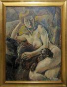 Anonym, 1910/1920, Ruhender weiblicher Akt mit Schoßhund, Ölgemälde, Goldrahmen Anonym, Auf einem