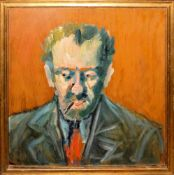 Anonymer Expressionist, Ausdrucksstarkes Portrait eines bärtigen Mannes mit Zigarillo, Ölgemälde,
