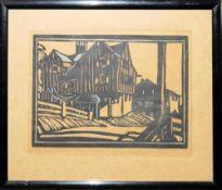 """Eugen Croissant, """"Die Au"""", kolorierter Linolschnitt von 1920, originalgerahmt Eugen Croissant,"""