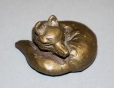 """Kurt Arentz, Bronzeplastik Fuchs mit Zertifikat Kurt Arentz, 1934 - 2014, liegender """"Fuchs-klein"""","""