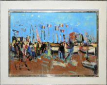 Alfredo Cini, Fest in einem französischen Hafen, Ölgemälde, Atelierrahmen Alfredo Cini, 1887