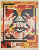 "Shepard Fairey, Street Art Komposition mit ""Obey""-Icon, signierte Farbserigraphie, o. Rahmen Shepard"