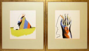 Horst Antes, 2 frühe Farblithographien von 1966, gerahmt Horst Antes, *1936, Komposition mit Hand,