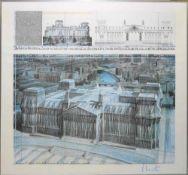 """Christo """"Wrapped Reichstag"""", 1994, signierter farbiger Offsetdruck, gerahmt Christo, *1935, Der"""