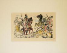"""Lovis Corinth, Kriegerszene aus """"das Buch Judith"""", Farblithographie von 1910, sign. Lovis Corinth,"""