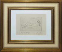 """Josef Steiner, """"Liegendes Mädchen"""", Radierung, 1921, gerahmt Josef Steiner, 1899 – 1977, Liegender"""