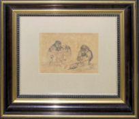 Josef Steiner, Affen, frühe Bleistiftzeichnung, im Atelierrahmen Josef Steiner, 1899 - 1977, Paviane