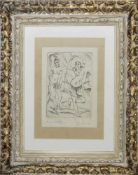 """Josef Steiner, """"Tanzendes Mädchen"""", Radierung, um 1921, im Stuckrahmen Josef Steiner, 1899 – 1977,"""