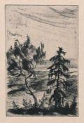"""Josef Steiner, Landschaften mit Bäumen, 5 Radierungen, gerahmt Josef Steiner, 1899 – 1977, """""""